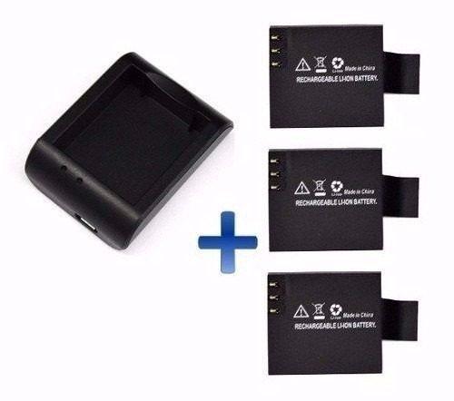 3 Bateria 1 Recarregador P/ Sports Cam Sj4000 E Similares