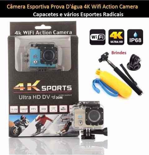 Sports Camera Wifi Prova Dagua 4k + 16gb + Kit Bateria Extra