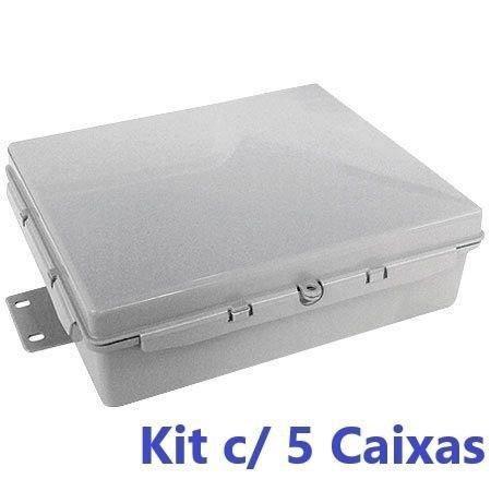 Kit C/ 5 Caixa Hermetica Cinza 25x20x8 Cm Cx Poste Multitoc