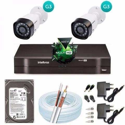 Kit 2 Cameras Intelbras 1010b G3 Dvr 4 Canais Intelbras 1004