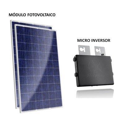 kit painel solar com microinversor 500w gera até 50kwh por mês