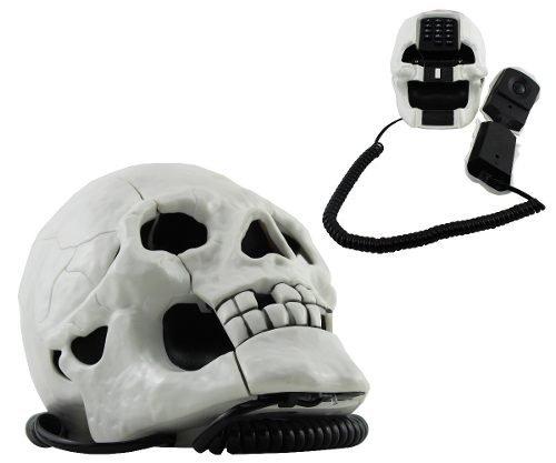 Telefone Decorativo Cranio Com Luz Para Quarto Branco Tatto