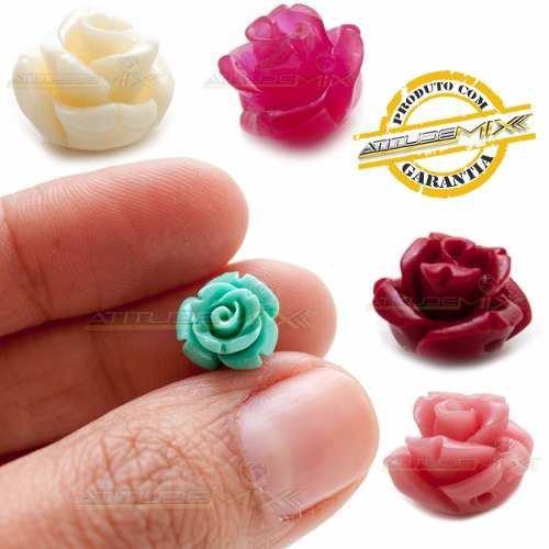 Kit 50 Contas Plástico Mini Rosas Enfeites Decoração Cores