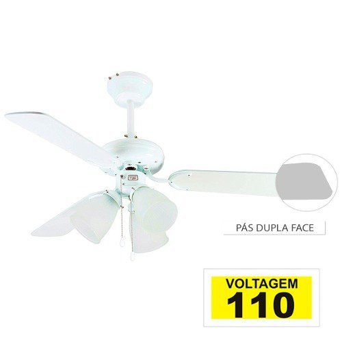 Ventilador Teto 3 Tulipas Reversível 3 Pás 110v Cod 1042.1