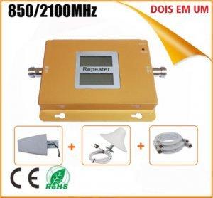 rual band kit completo repetidor celular gsm 3g 850mhz 2100mhz antena externa e interna