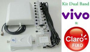 kit repetidor celular dual band 850 1900mhz completo 60db