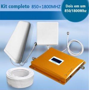 dual band kit completo com repetidor celular gsm 3g para 850mhz 1800mhz antena externa e interna