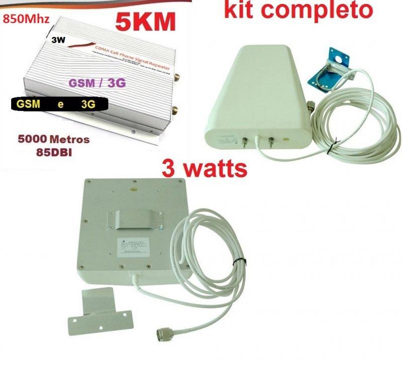 repetidor celular grande porte 3g gsm 850mhz 3w com antena externa e interna