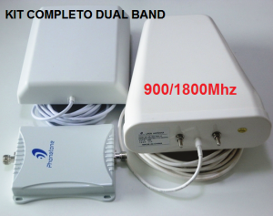 dual band kit completo repetidor celular gsm 3g 900mhz 1800mhz antena externa interna e cabos