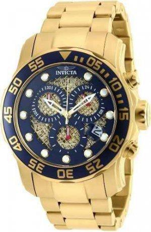 Relógio Invicta Pro Diver 90172 Dourado Azul Original Caixa