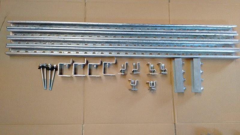 kit completo de suporte para instalação de 2 painéis solares em telha de amianto