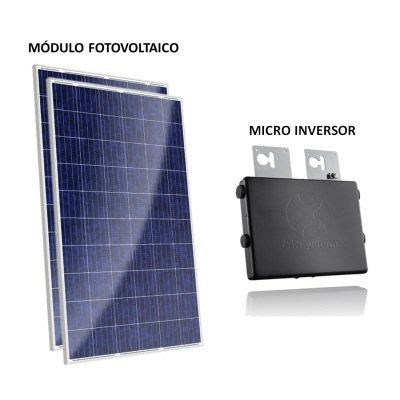 kit painel solar com microinversor 500w gera até 1280kwh por mês