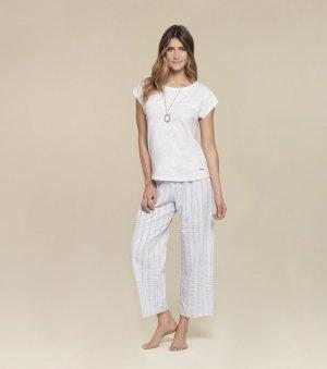 Pijama Manga Curta Com Calça Pantacourt - 10396