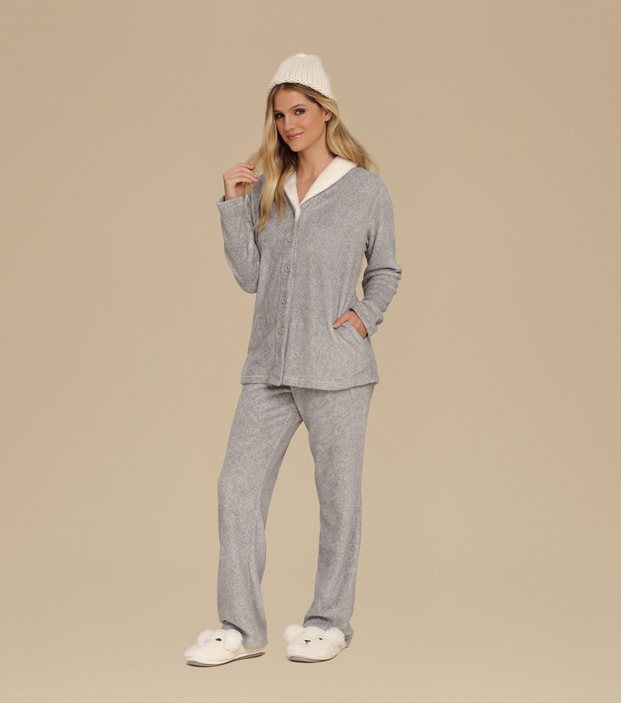 Pijama Manga Longa com Abertura Frontal - 10550