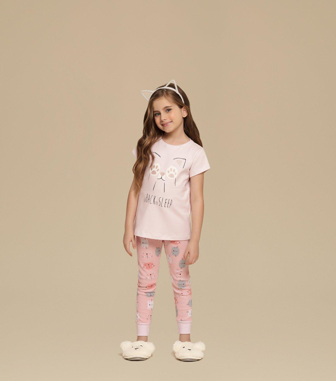 Pijama Manga Curta com Legging Infantil - 67338
