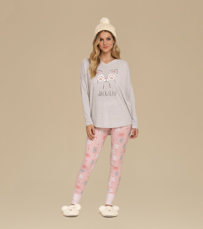 Pijama Manga Longa com Legging - 10605