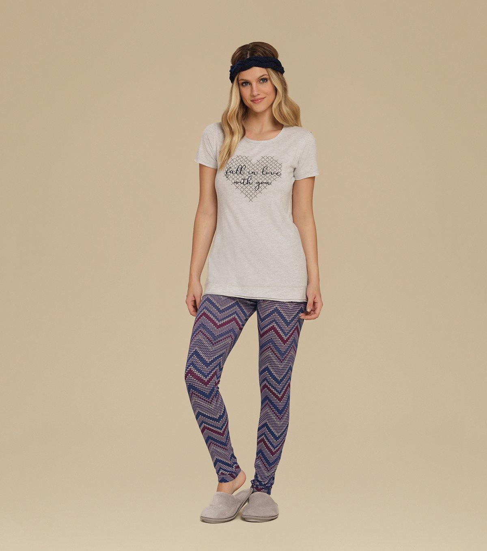 Pijama Manga Curta com Legging - 10540