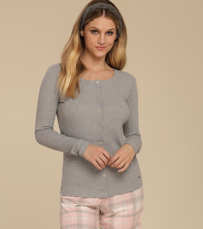 Pijama Manga Longa com Abertura Frontal - 10581