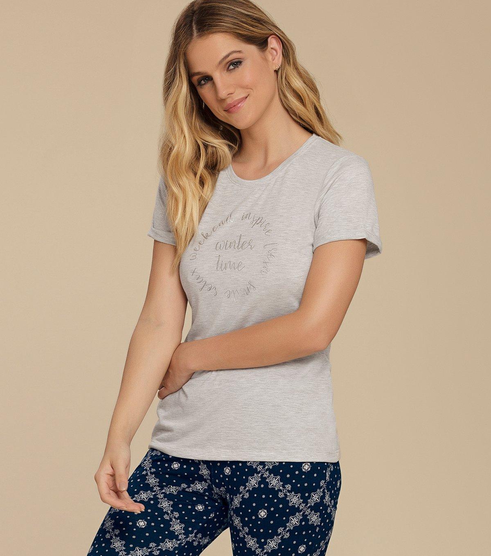 Pijama Manga Curta com Calça Flare - 10609