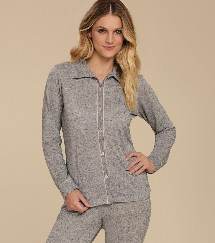 Pijama Manga Longa com Abertura Frontal - 10592