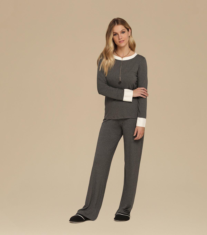 Pijama Manga Longa com Calça Ampla - 10600