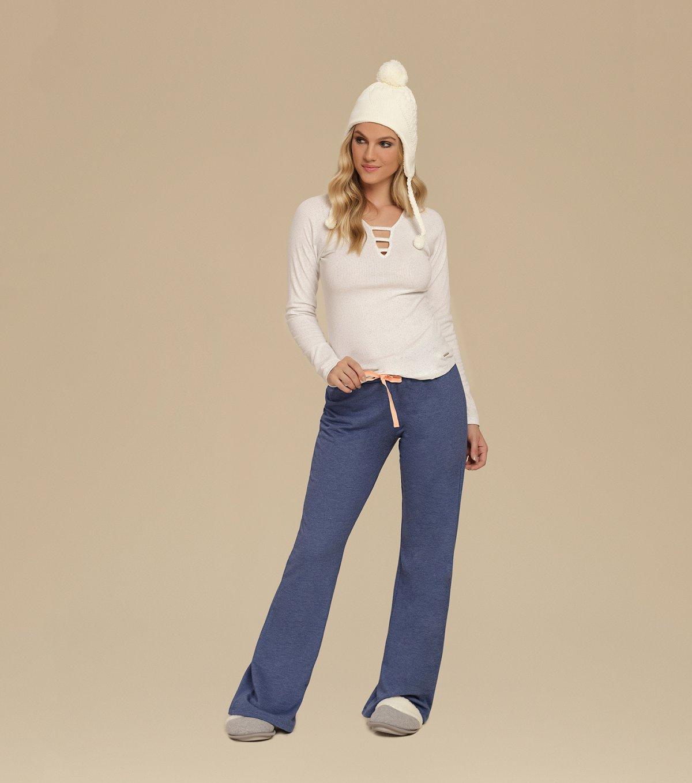 Pijama Manga Longa com Calça Flare - 10643