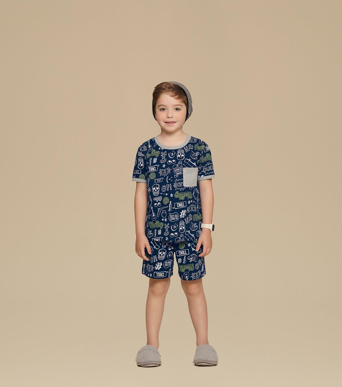 Pijama Manga Curta Infantil - 66296