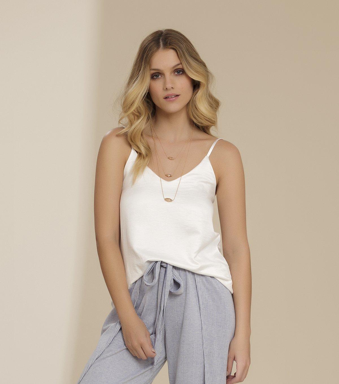 Pijama Alça com Calça Pantacourt - 11011