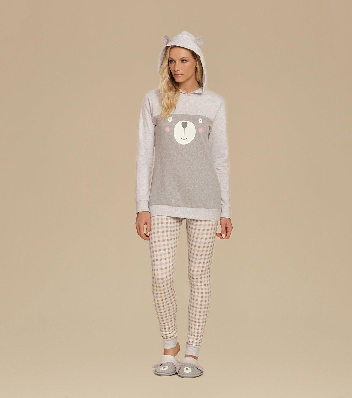 Pijama Manga Longa de Capuz com Legging - 10580
