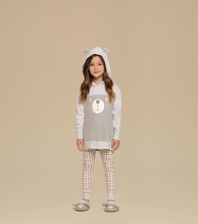 Pijama Manga Longa de Capuz com Legging Infantil - 67334