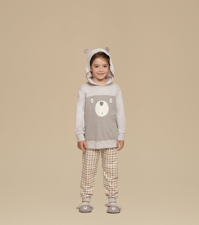 Pijama Manga Longa de Capuz Infantil - 66271