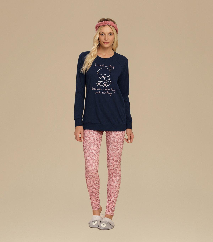 Pijama Manga Longa com Legging - 10541