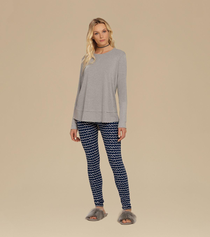 Pijama Manga Longa Com Legging - 10578
