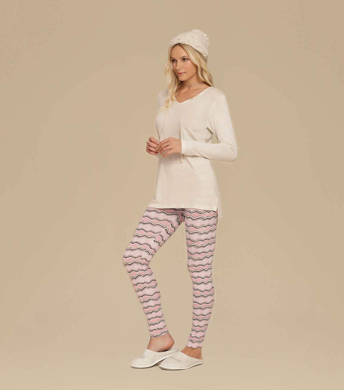 Pijama Manga Longa com Legging - 10622