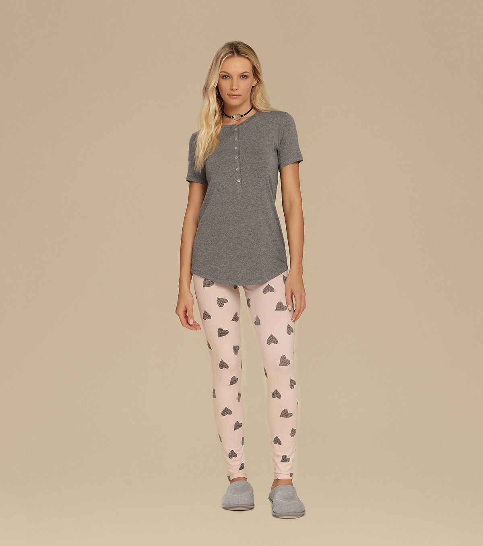 Pijama Manga Curta com  Legging - 10640
