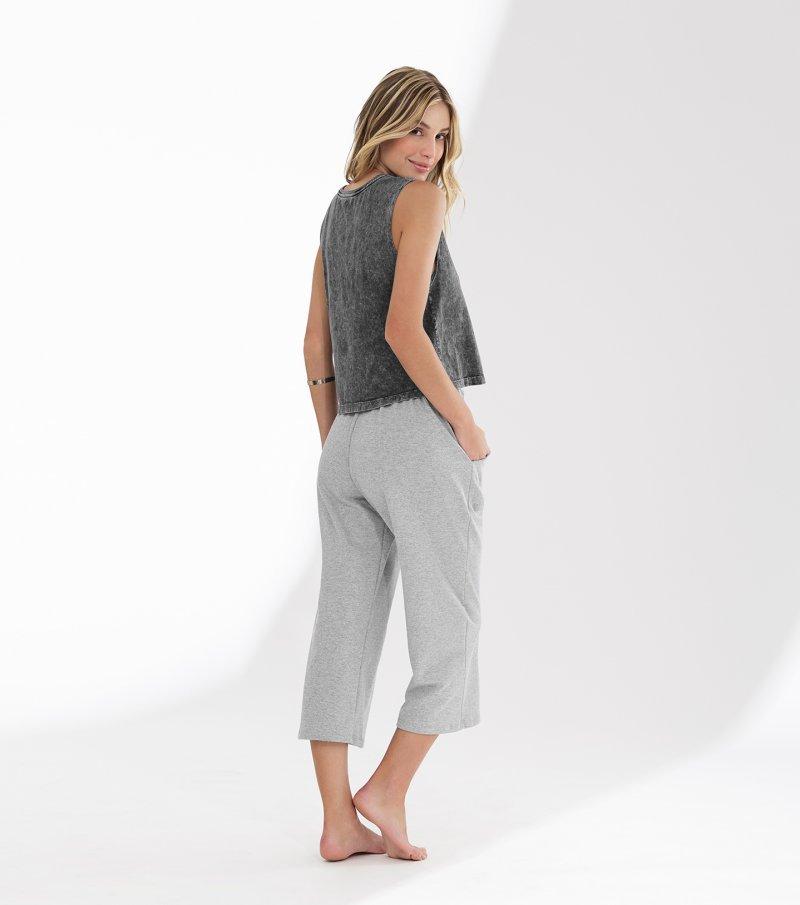 Pijama regata com alça pantacourt - 11042
