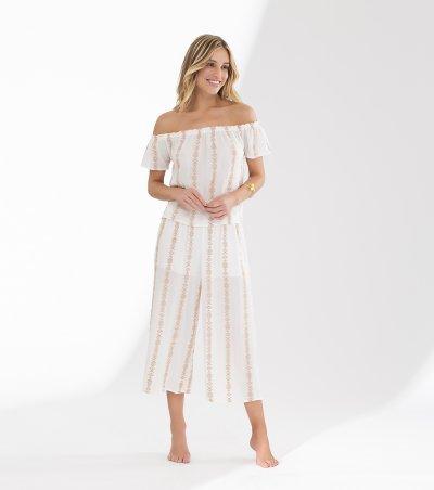 Pijama pantacourt com blusa ombro a ombro - 11031