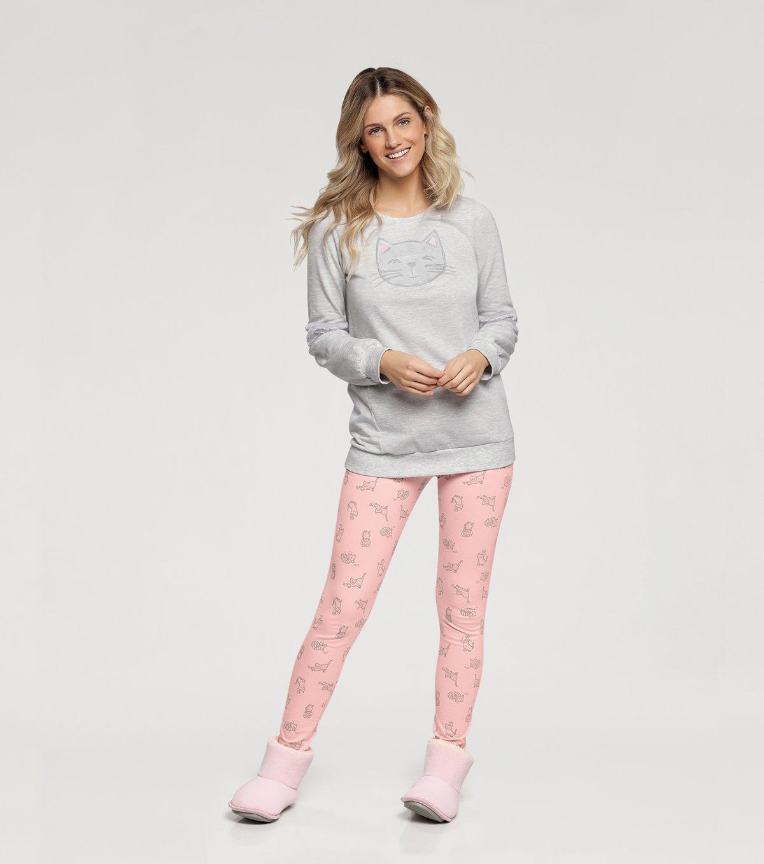 Pijama Manga Longa com Legging - 10854