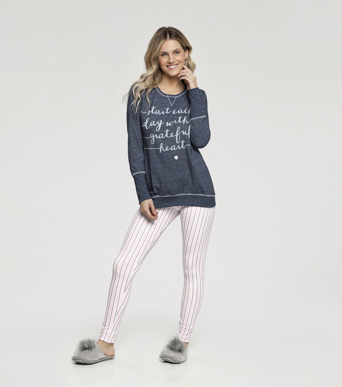Pijama Manga Longa com legging - 10974