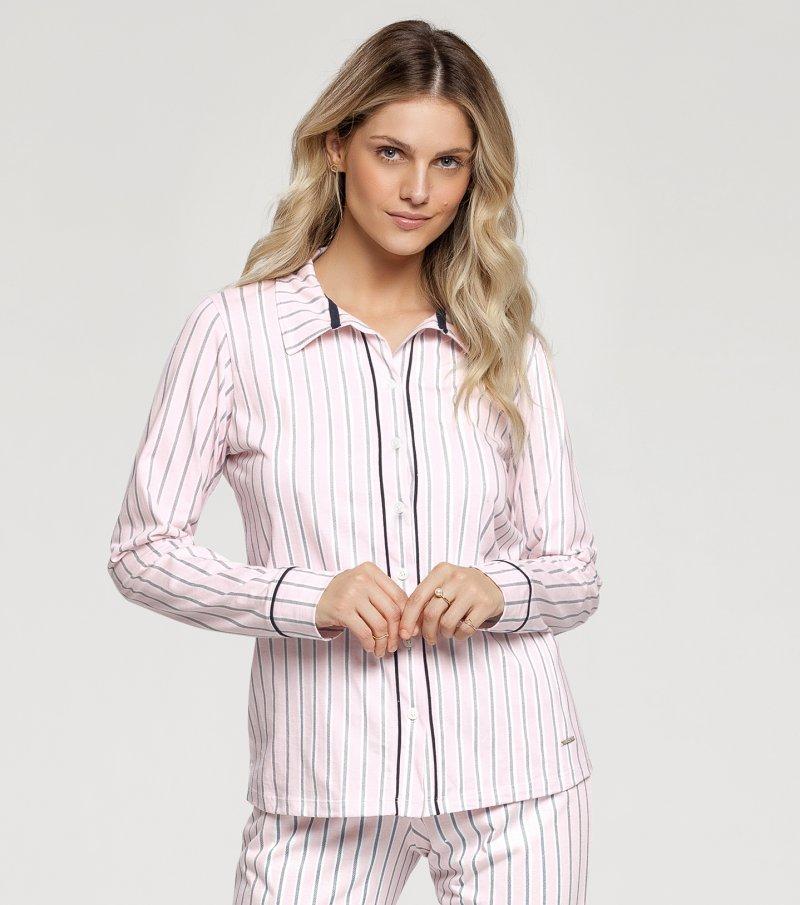 Pijama Manga Longa com Abertura Frontal - 10972