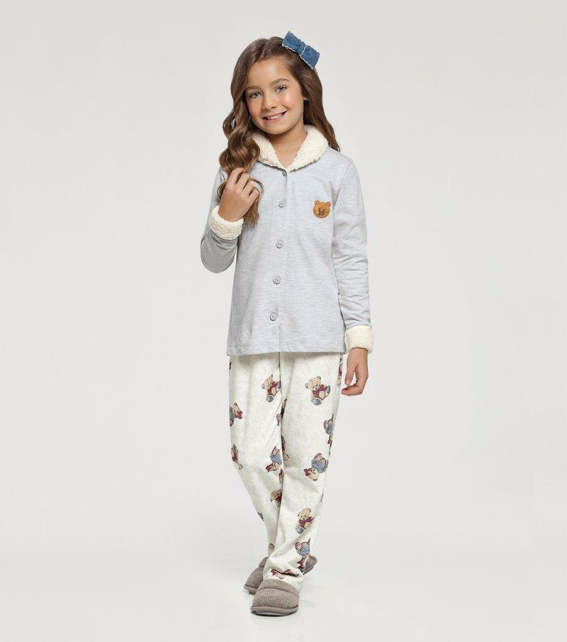 Pijama Manga Longa com Abertura Frontal Infantil - 67415