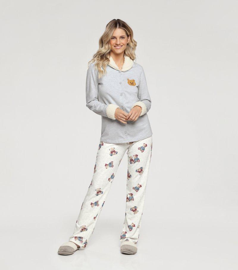 Pijama Manga Longa com Abertura Frontal - 10902