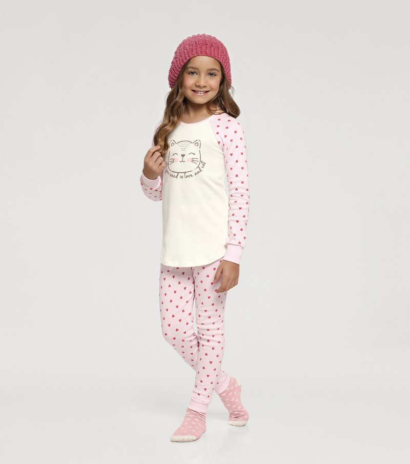 Pijama Manga Longa com Legging Infantil - 67388