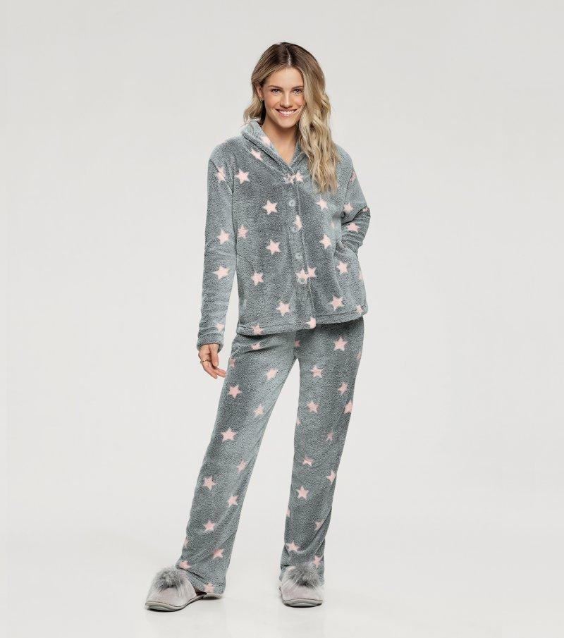 Pijama Manga Longa com Abertura Frontal - 10846