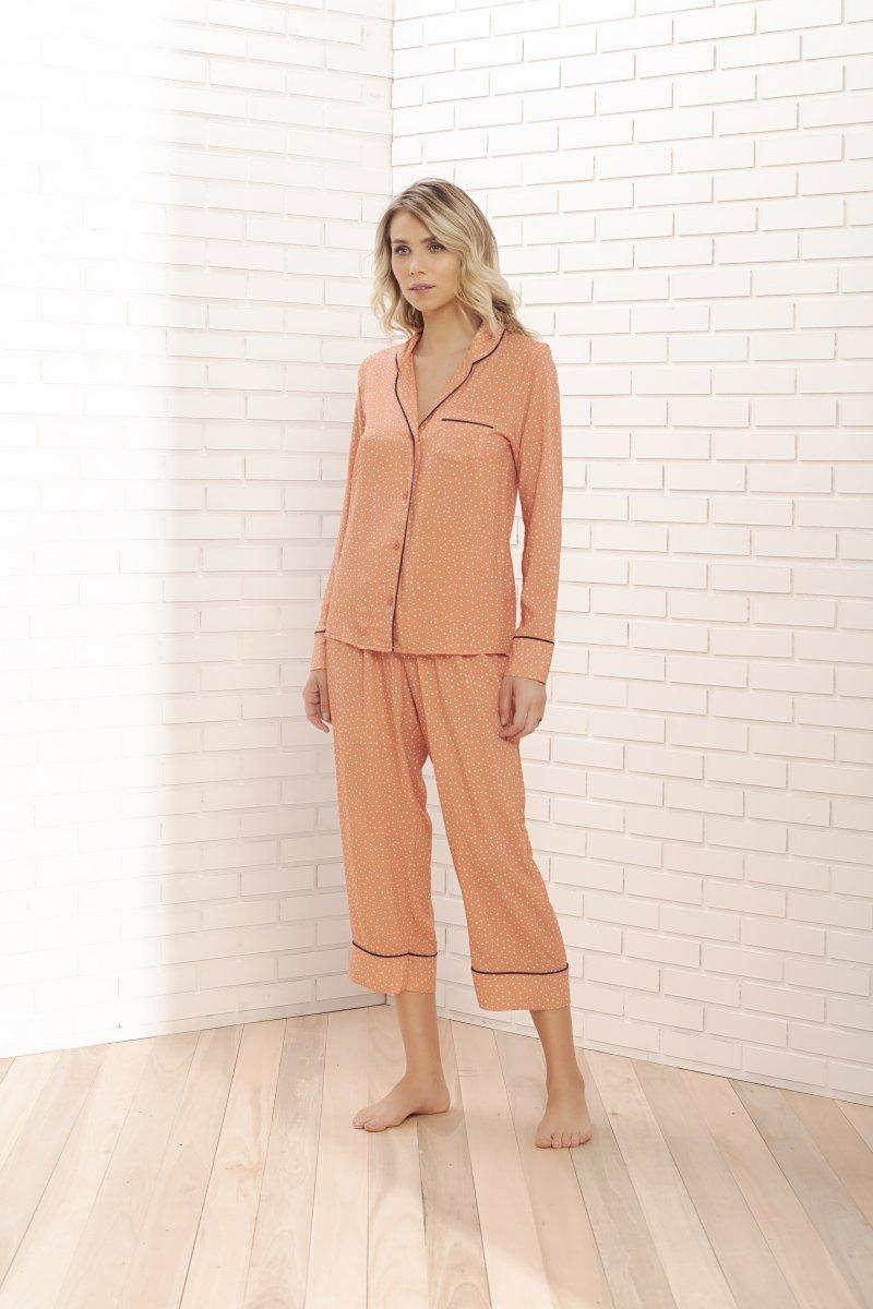 Pijama Manga Longa com Calça Midi - 11050