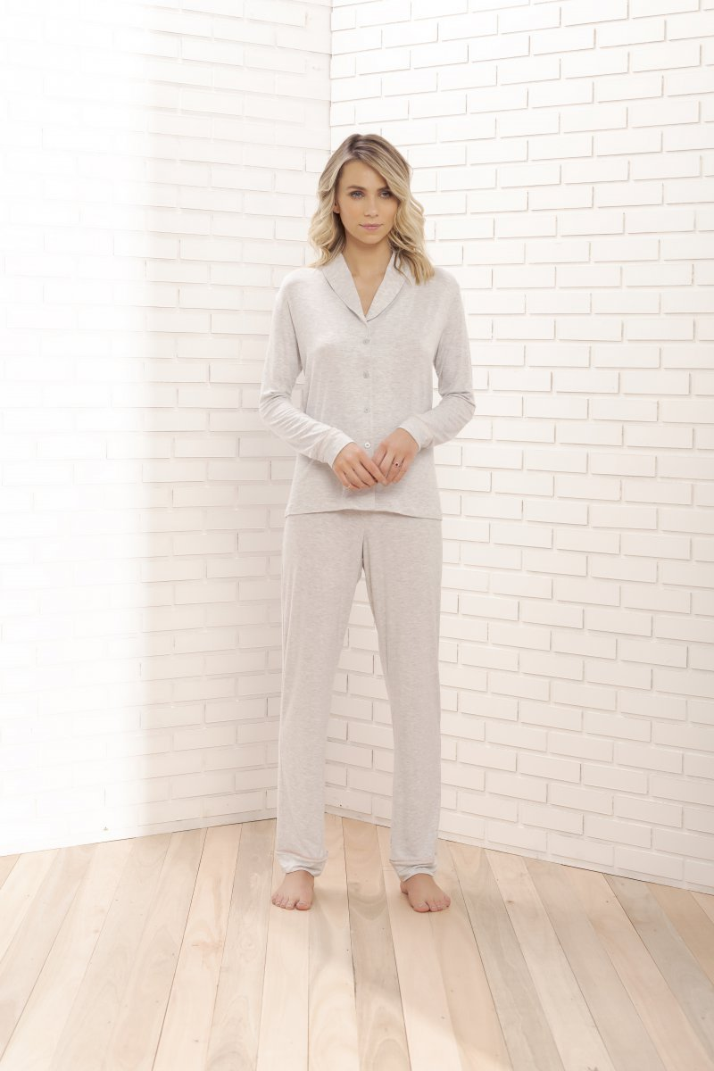 Pijama Manga Longa com Abertura Frontal - 11060
