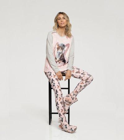 Pijama Manga Longa com Legging - 10886