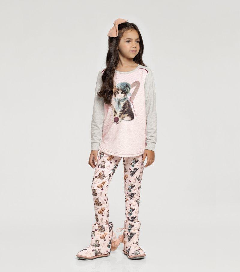 Pijama Manga Longa com Legging Infantil - 67405