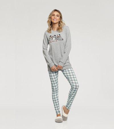 Pijama Manga Longa com Legging - 10832