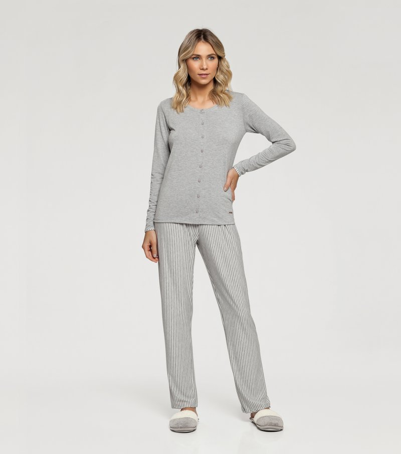 Pijama Manga Longa com Abertura Frontal - 10922